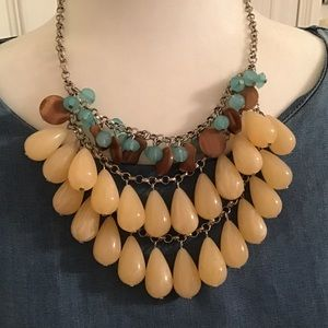 Cream, brown and turquoise short beaded necklace